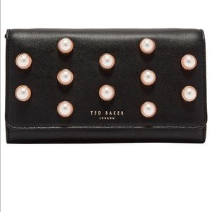 Ted Baker Steff Faux Pearl Stud Leather Wallet